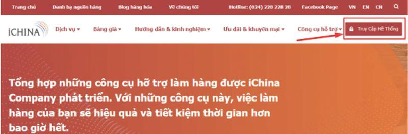 Đăng ký tài khoản trên hệ thống của iChina Company